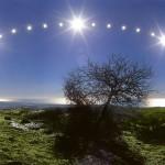 winter solstice sunline over tree